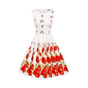 Butterfly-Floral Boatneck Vintage Tea Belted Dress